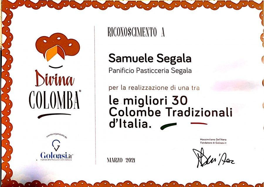 SIAMO UNA DELLE 30 MIGLIORI COLOMBE ARTIGIANALI TRADIZIONALI D'ITALIA.